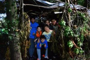 Una de las cabañas construidas durante las actividades.